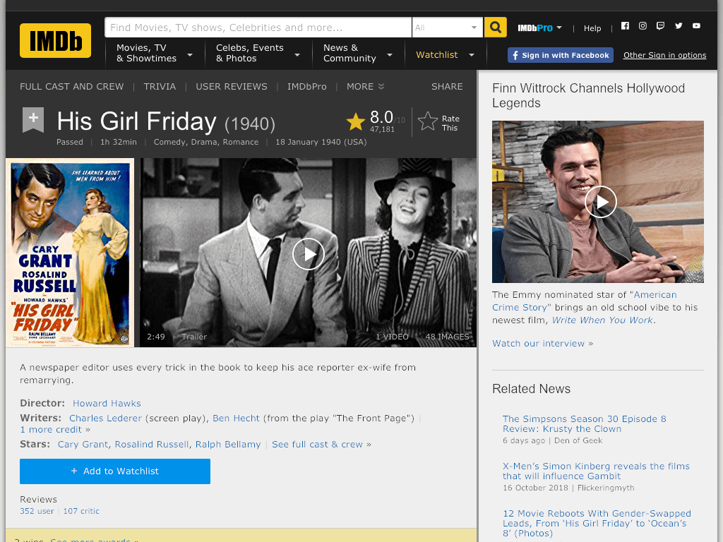 His Girl Friday Movie FREE