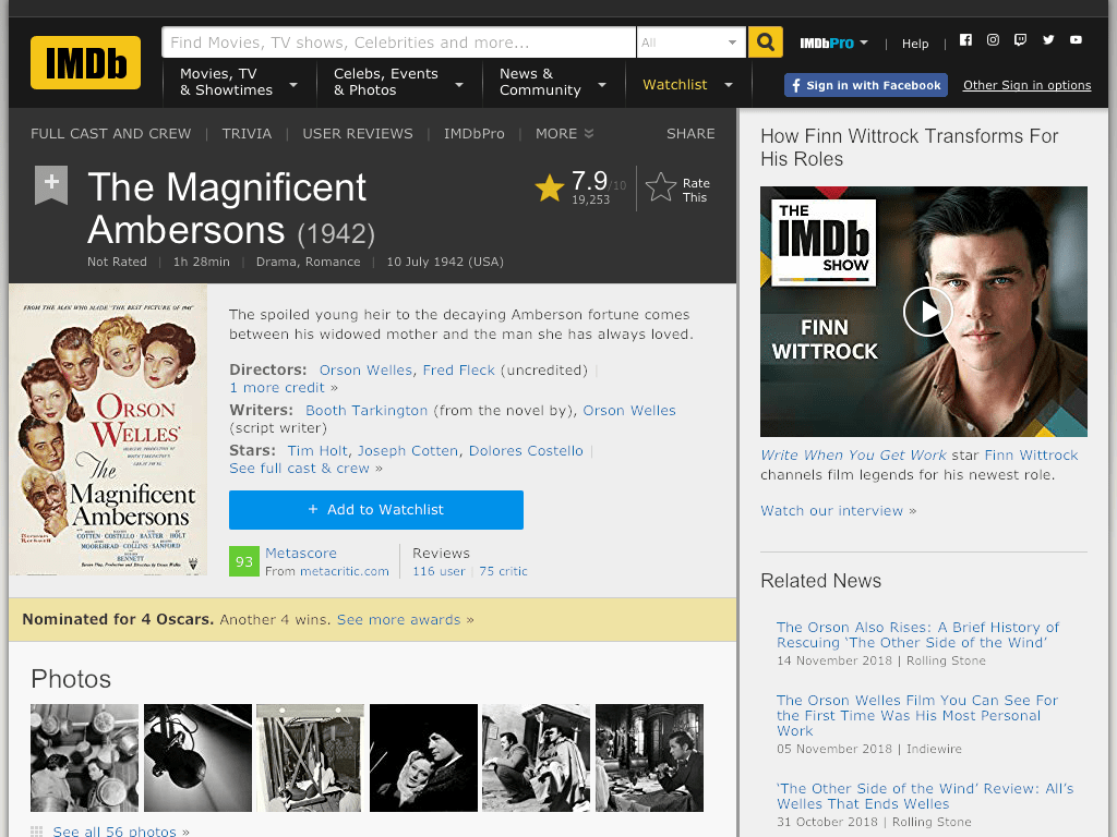 The Magnificent Ambersons Movie FREE