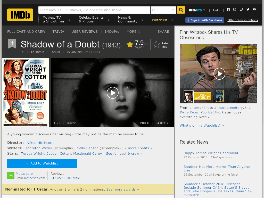 Shadow of a Doubt Movie FREE