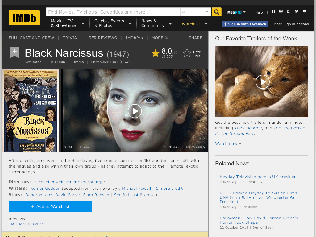 Black Narcissus Movie FREE