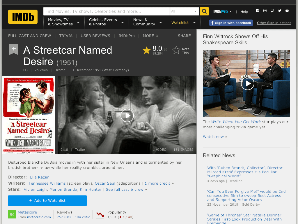 A Streetcar Named Desire Movie FREE
