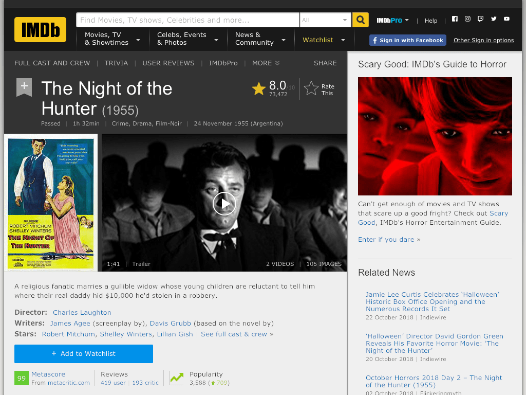 The Night of the Hunter Movie FREE