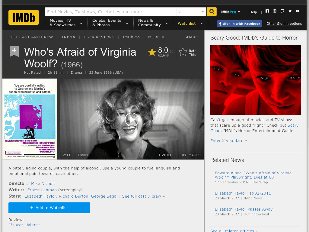 Who's Afraid of Virginia Woolf? Movie FREE