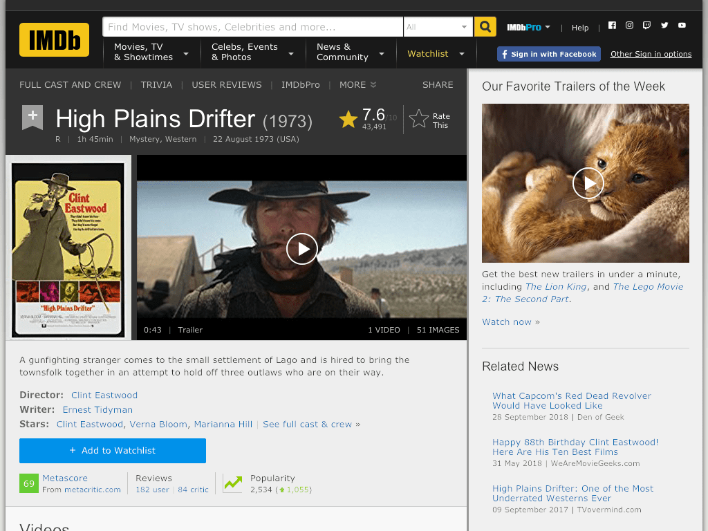 High Plains Drifter Movie FREE