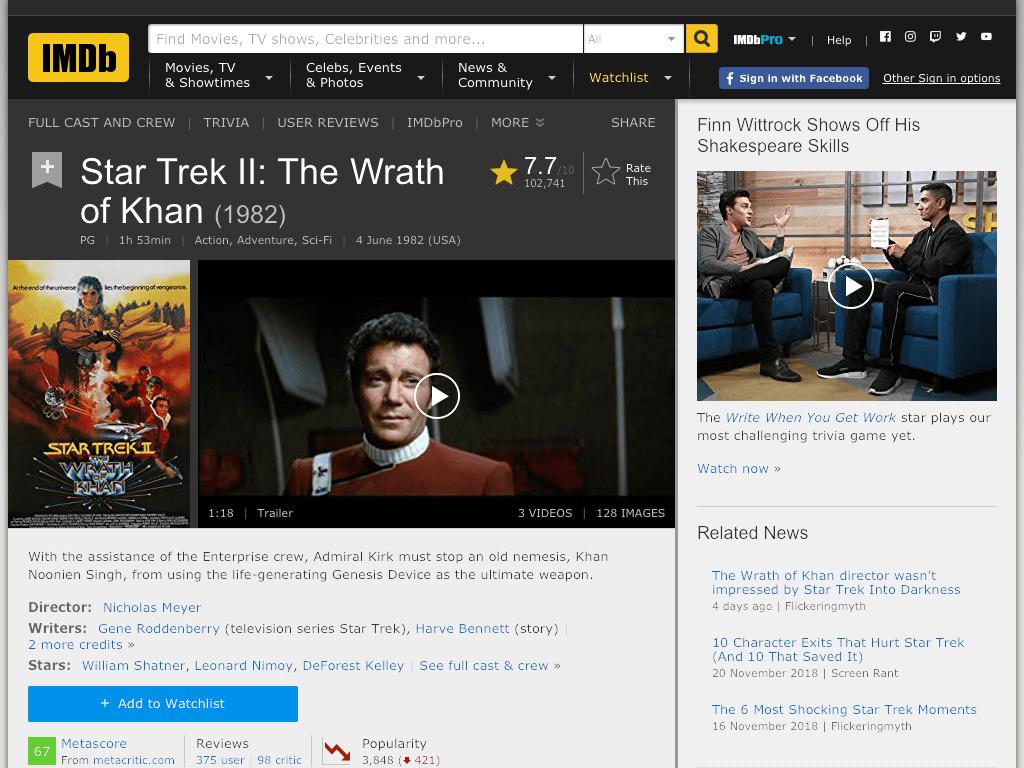 Star Trek II: The Wrath of Khan Movie FREE