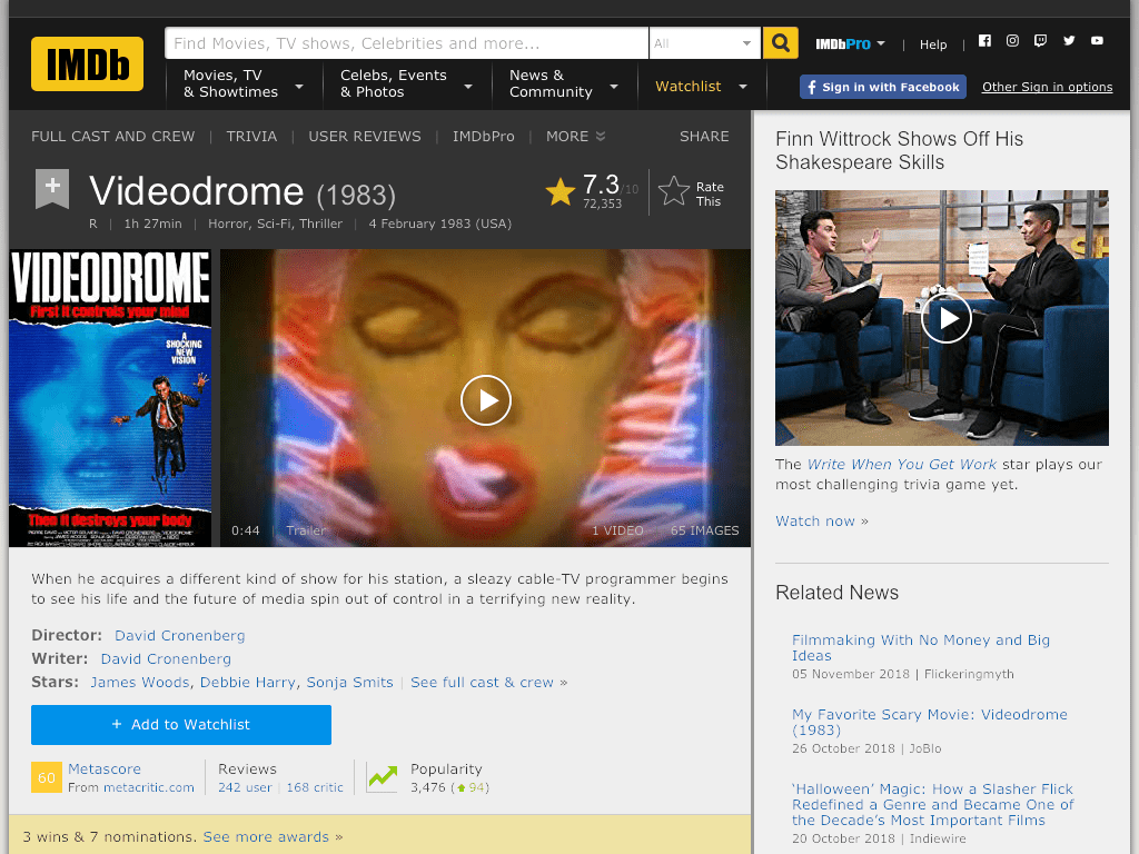 Videodrome Movie FREE
