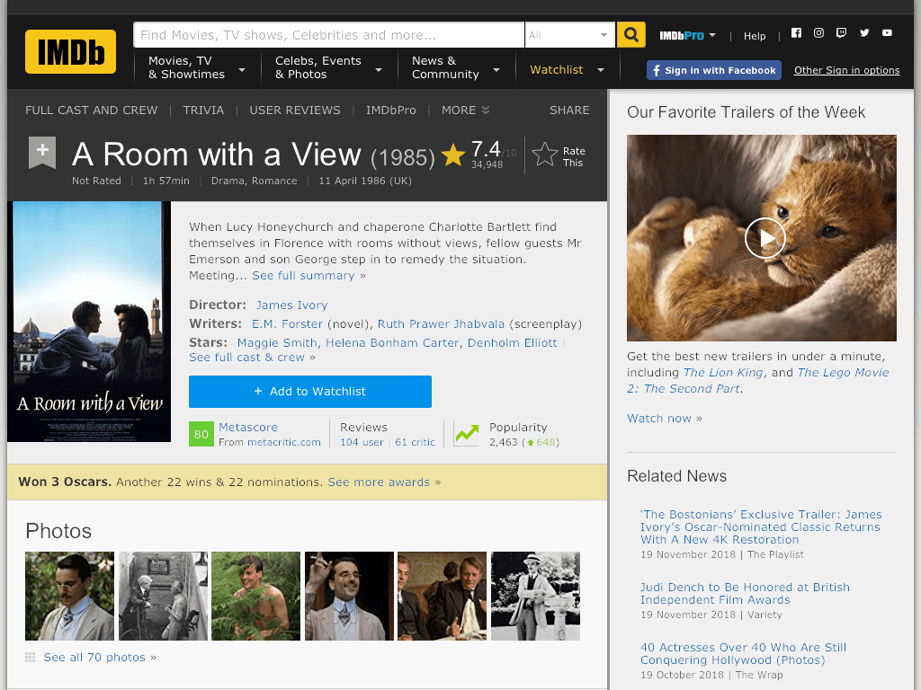 A Room with a View Movie FREE