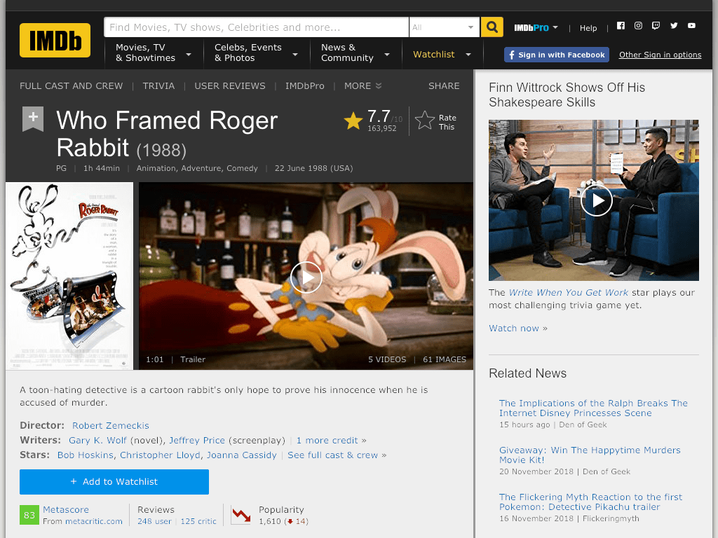 Who Framed Roger Rabbit Movie FREE