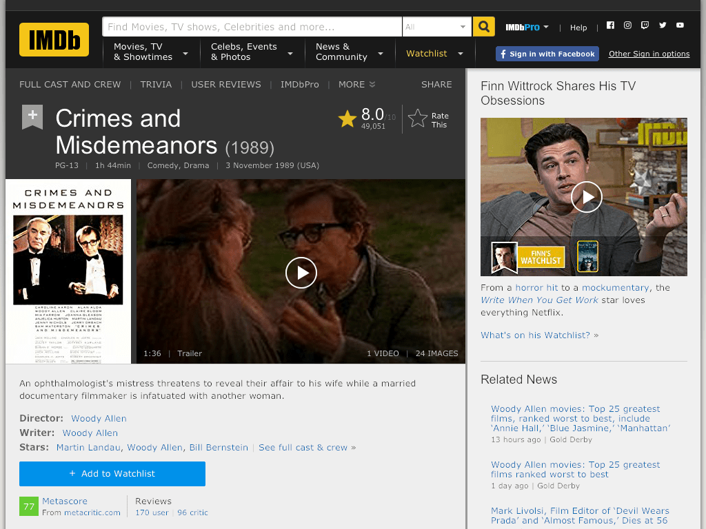 Crimes and Misdemeanors Movie FREE