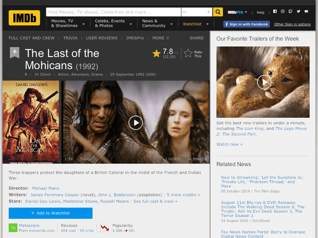 The Last of the Mohicans Movie FREE