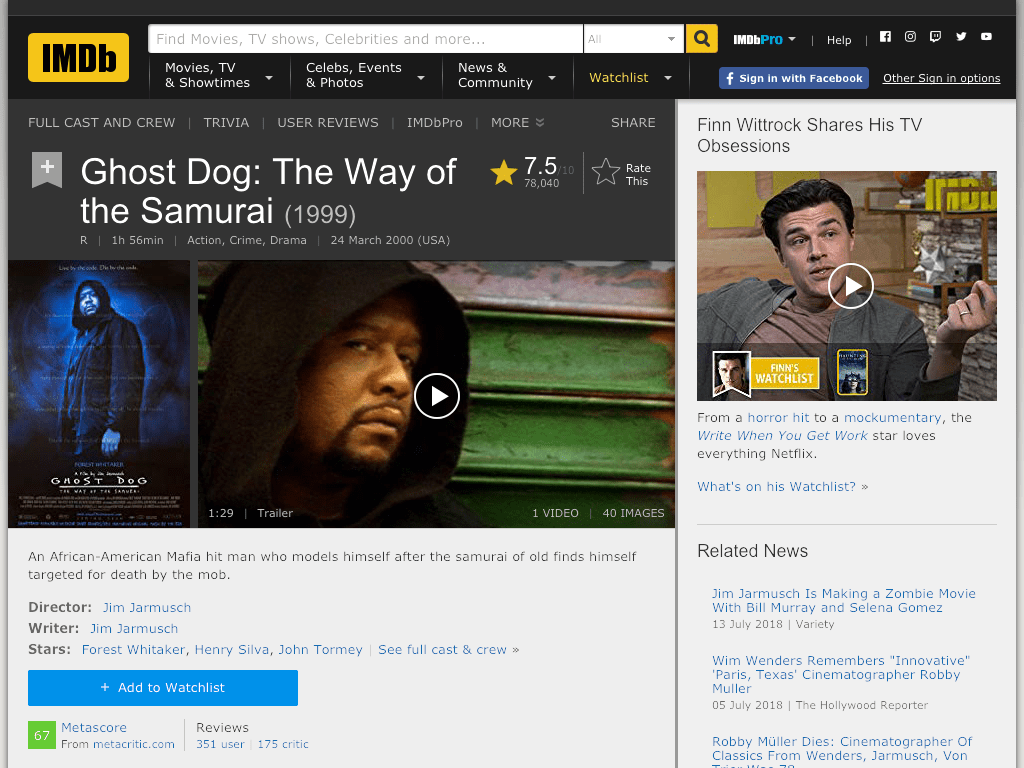 Ghost Dog: The Way of the Samurai Movie FREE