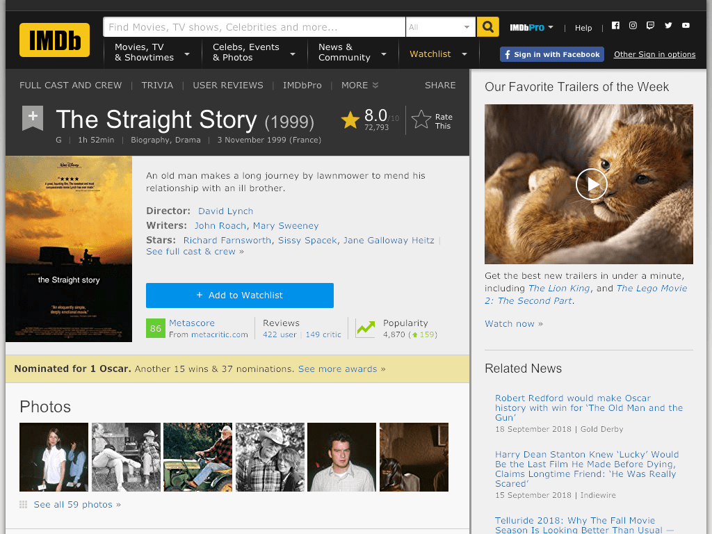 The Straight Story Movie FREE