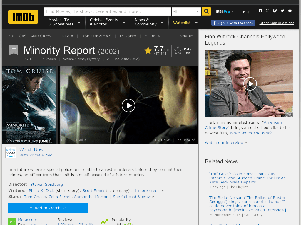 Minority Report Movie FREE