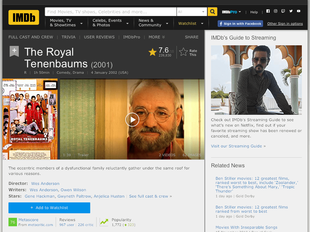 The Royal Tenenbaums Movie FREE