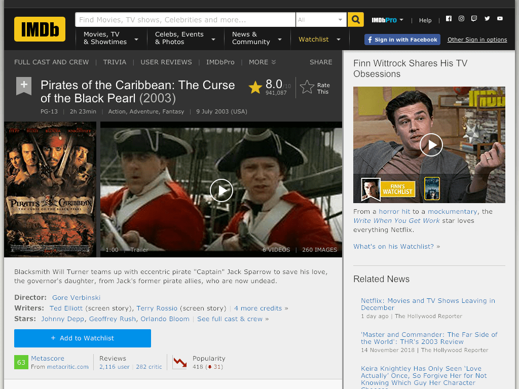Pirates of the Caribbean: The Curse of the Black Pearl Movie FREE