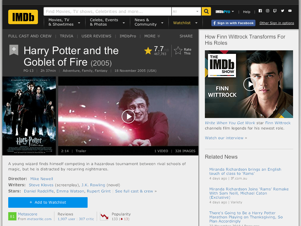 Harry Potter and the Goblet of Fire Movie FREE