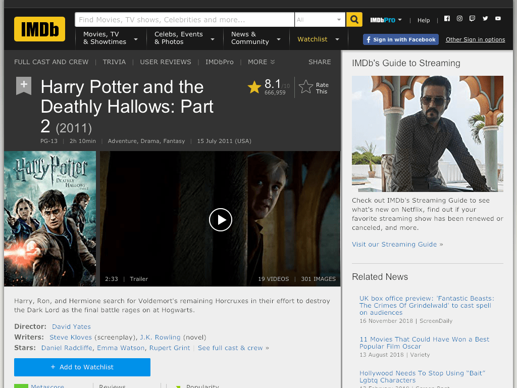 Harry Potter and the Deathly Hallows: Part 2 Movie FREE