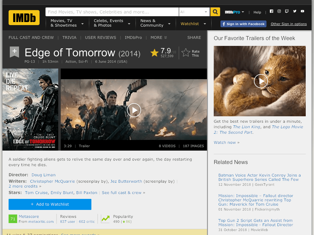 Edge of Tomorrow Movie FREE
