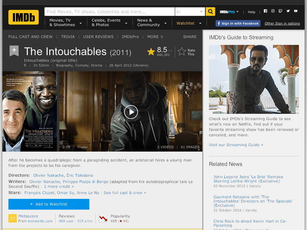 Intouchables Movie FREE