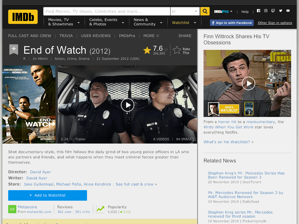 End of Watch Movie FREE